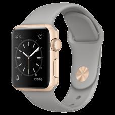Apple Watch Series 2, 38 мм, корпус из золотистого алюминия, спортивный ремешок цвета «серый камень»