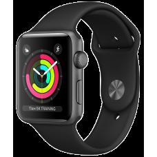 Apple Watch 3 Series Корпус 38мм из алюминия цвета «серый космос», спортивный ремешок чёрного цвета