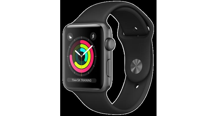 Apple Watch 3 Series Корпус 42мм из алюминия цвета «серый космос», спортивный ремешок чёрного цвета