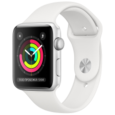 Apple Watch 3 Series Корпус 38мм из серебристого алюминия, спортивный ремешок белого цвета