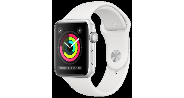 Apple Watch 3 Series Корпус 42мм из серебристого алюминия, спортивный ремешок белого цвета