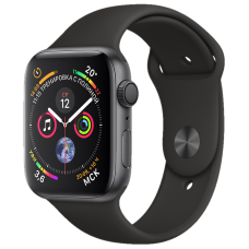 Apple Watch Series 4, 40 мм, корпус из алюминия цвета «серый космос», спортивный ремешок чёрного цвета