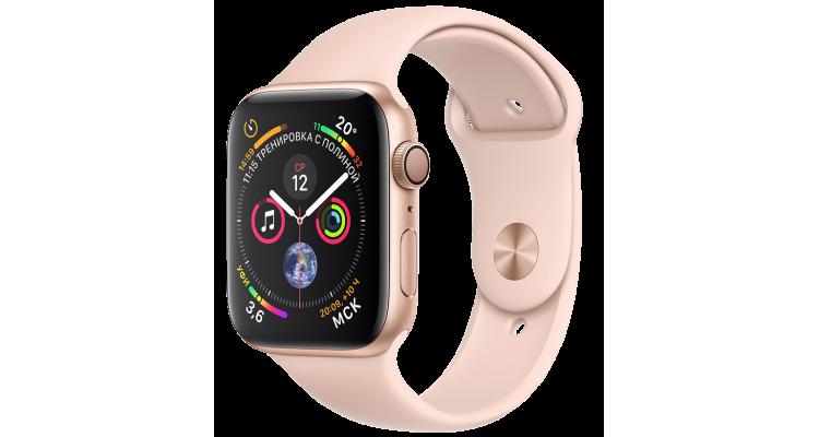 Apple Watch Series 4, 40 мм, корпус из алюминия золотого цвета, спортивный ремешок цвета «розовый песок»