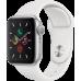 Часы Apple Watch Series 5, 40 мм, корпус из алюминия серебристого цвета, спортивный браслет белого цвета