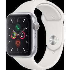 Часы Apple Watch Series 5, 44 мм, корпус из алюминия серебристого цвета, спортивный браслет белого цвета