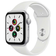 Apple Watch SE, 40 мм, корпус из алюминия серебристого цвета, спортивный ремешок белого цвета
