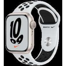 Apple Watch Nike Series 7, 41 мм, корпус из алюминия цвета «сияющая звезда», спортивный ремешок Nike цвета «чистая платина/чёрный»