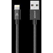 Кабель Anker USB-Lightning MFi, 1.8 м, капрон, 4000+ перегибов, A7114H11 (ритейл). Черный
