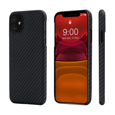 Карбоновый (Кевлар) Чехол Pitaka MagCase Для IPhone 11 Черно-Серый В Полоску