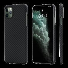 Карбоновый (Кевлар) Чехол Pitaka MagCase Для IPhone 11 Pro Max Черно-Серый В Полоску