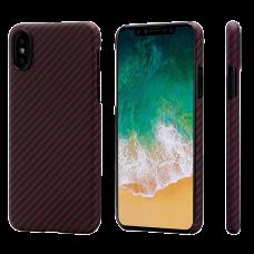 Карбоновый (Кевлар) Чехол Pitaka MagCase Для IPhone X (10) Черно-Красный В Полоску